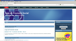 toma de pantalla de la pagina de la caja de prevision social de salta